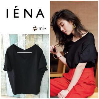 イエナ(IENA)の美品❣️ Oggi×IENAコラボ ラッフル袖プルオーバー ブラック(ニット/セーター)