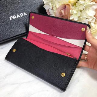 PRADA - PRADA プラダ サフィアーノ 二つ折り 長財布 黒