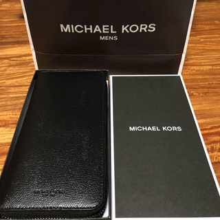 マイケルコース(Michael Kors)の新品未使用 メンズ マイケルコース 長財布 ラウンドジップ ブラック(長財布)