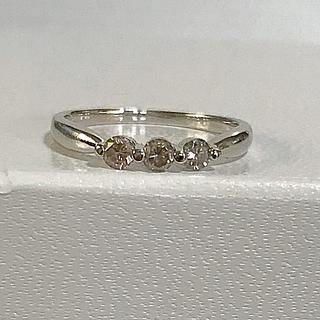 ブラウン ダイヤモンド リング k18 WG 美品(リング(指輪))