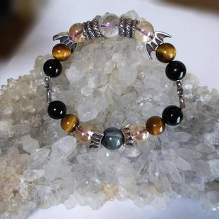 シルバーメンズブレス&レインボー水晶のセット(ブレスレット)