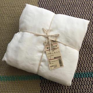 ムジルシリョウヒン(MUJI (無印良品))の無印 麻平織ボックスシーツ シングル オフ白(シーツ/カバー)