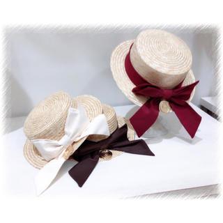 アマベル(Amavel)のAmavel カンカン帽 (美品)(麦わら帽子/ストローハット)
