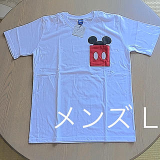 ディズニー(Disney)のミッキー  ポケット Tシャツ メンズ L 白 新品 未使用 タグつき(Tシャツ/カットソー(半袖/袖なし))