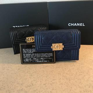 CHANEL - 2018 6月購入 シャネル キャビアスキン 折財布 ネイビー