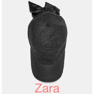 ザラ(ZARA)のZara リボン ブラック キャップ デニム キャップ 新品♡(キャップ)
