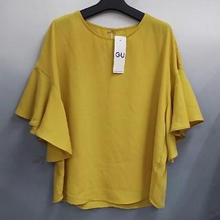 ジーユー(GU)の新品 GU フレアスリーブブラウス・イエロー・XL(シャツ/ブラウス(半袖/袖なし))