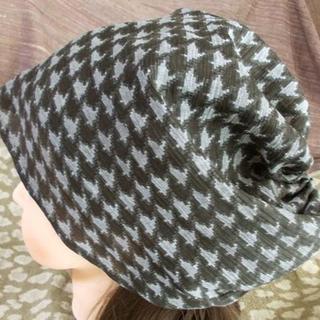 贅沢 特大 68 千鳥格子意匠 キャップ 帽子 室内帽子(その他)