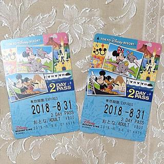 ディズニー(Disney)の追跡有☆2枚組★未使用★ディズニーリゾートライン 大人用2dayパス(鉄道乗車券)