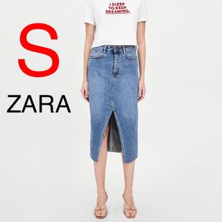 ザラ(ZARA)の新品 ZARA デニムスカート ミディ丈 ミディ デニム スカート(ひざ丈スカート)