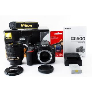 ニコン(Nikon)の高機能高画質♪Nikon D5500 レンズセット♪新品SDカード、元箱付き(デジタル一眼)