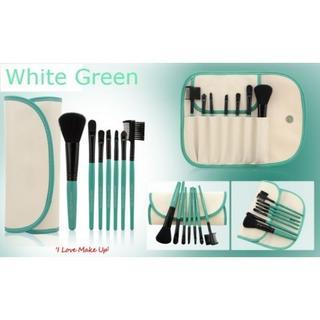 メイクアップブラシ 7本セット ホワイト×グリーン(その他)