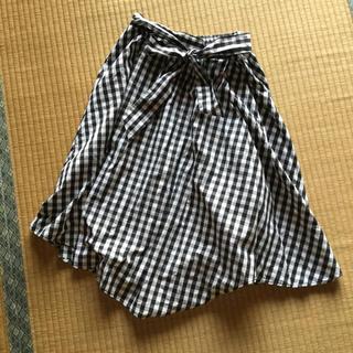 シマムラ(しまむら)のしまむら ギンガムチェック スカート モノクロ リボン付き(ロングスカート)