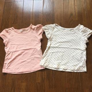 無印良品 ベビーTシャツ 80 2枚セット ピンクと白 水玉 ドット 女の子