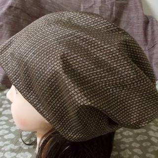 特大 60 ユニセックス 縞格子 大島紬 寄木? キャップ 帽子 室内帽子(その他)