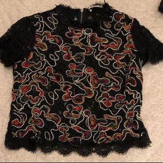 ザラ(ZARA)のZARA ザラ カットソー ブラウス ビーズ 刺繍(シャツ/ブラウス(半袖/袖なし))