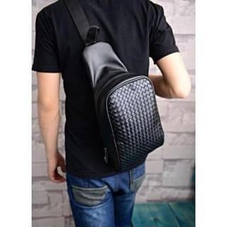ボディバッグ ボディーバッグ ショルダーバッグ 編み込み ブラック メンズ(ボディーバッグ)