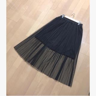 チュール プリーツ スカート 黒 ブラック(ロングスカート)