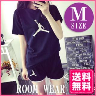 ルームウェア パジャマ スポーツ Tシャツ パンツ 上下セット ブラック M(ルームウェア)