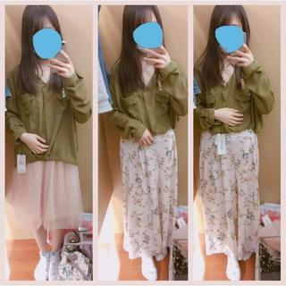 シマムラ(しまむら)のスカート / 花柄 ワイド ガウチョ パンツ ピンク (ひざ丈スカート)