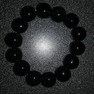 天然石 大粒黒瑪瑙 数珠 ブレスレット14mm(ブレスレット)