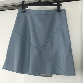 ザラ(ZARA)のZARA ダスティブルー 膝上スカート Mサイズ(ミニスカート)