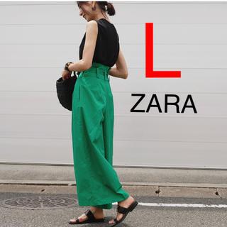 ザラ(ZARA)の新品 ZARA ワイドパンツ ポプリンパンツ パンツ リボン付き リボン(カジュアルパンツ)