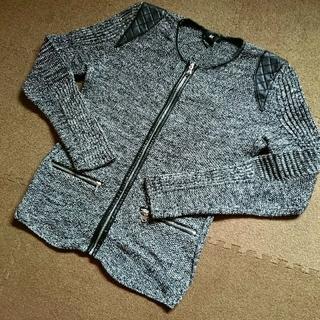 エイチアンドエム(H&M)のH&M ツイード 上着 羽織 ノーカラー カーディガン レザー 合皮 大人 美品(ノーカラージャケット)