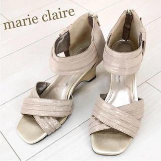 マリクレール(Marie Claire)の美品!marie claire 24.0〜 ベージュ ラメ パンプス サンダル(サンダル)