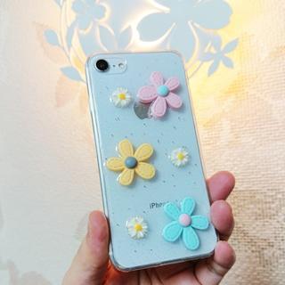 可愛い 3D 花柄 フラワー iPhone7 iPhone8 ソフトケース(iPhoneケース)