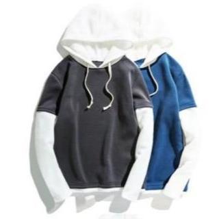 重ね着風 オルチャンファッション 韓流 韓国 プルオーバー パーカー(パーカー)