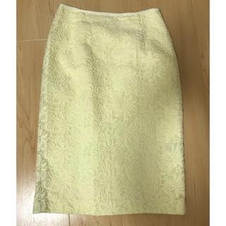 クードシャンス(COUP DE CHANCE)のクードシャンス レースタイトスカート イエロー(ひざ丈スカート)