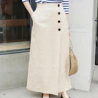 イエナスローブ(IENA SLOBE)の麻ボタンタイトスカート 36(ロングスカート)