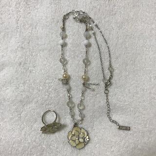 アナスイ(ANNA SUI)の美品!アナスイ  ホワイトネックレス&リングセット(ネックレス)