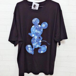 ディズニー(Disney)の新品 4L 大きいサイズ メンズ ミッキー ビッグTシャツ  ハイビスカス(Tシャツ/カットソー(半袖/袖なし))