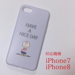 送込★iPhone7/8兼用★チャーリーブラウン 白スマホケース(iPhoneケース)