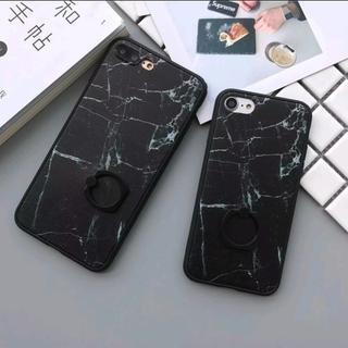 iPhone7 iPhone8 リング付き 大理石柄 ブラック マーブル(iPhoneケース)