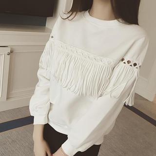 数量限定♡ホワイトフリンジトップス M(Tシャツ(長袖/七分))