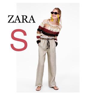 ザラ(ZARA)のZARA リボン付き リボン リネン リネンパンツ  ワイドパンツ  サンド(カジュアルパンツ)