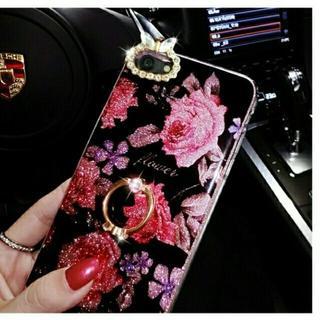 TG014 *花柄バンカーリング付 iphone8/7ケース* 総柄②(チャーム)