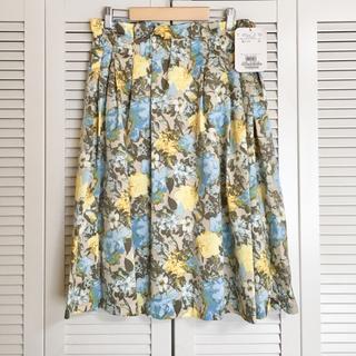 クチュールブローチ(Couture Brooch)の【新品未使用】Couture Brooch 花柄タックフレアスカート 40(ひざ丈スカート)