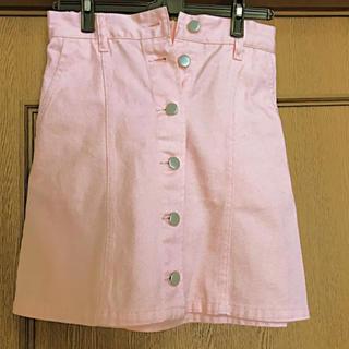 サーモンピンク デニムスカート(ひざ丈スカート)