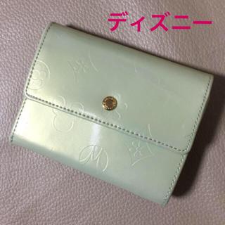 ディズニー(Disney)のz43【新品】ミッキー 三つ折り財布 きみどり エナメル(財布)