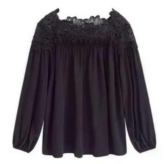 モチーフレース ブラウス ブラック Lサイズ(Tシャツ(長袖/七分))