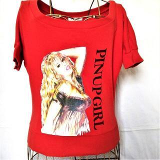 【TINKS   赤 半袖 カットソー Mサイズ ティンクス 】(Tシャツ(半袖/袖なし))