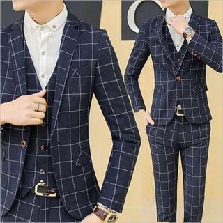 チェック柄スーツジャケット セットアップ 紳士スーツメンズ  zb316(セットアップ)