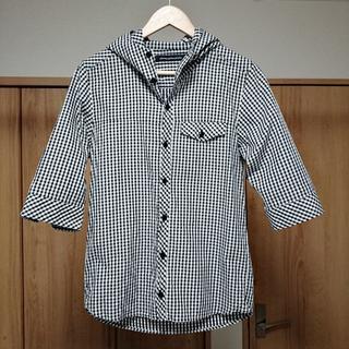 アドバンテージサイクル(Advantage cycle)の美品 アドバンテージサイクル 日本製 フード付き七分袖チェックシャツ メンズS(パーカー)