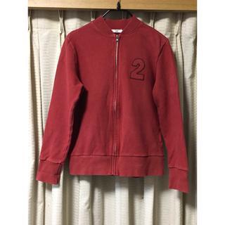 【美品】赤色 トレーナー ジップ付き ナンバー レッド アウター パーカー(パーカー)