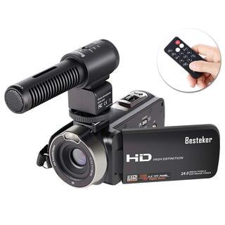 ビデオカメラ 外付けマイク リモコン付き 2400万画素 16倍デジタルズーム(ビデオカメラ)