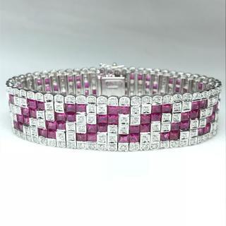 1380 ルビー17.95ct ダイヤモンド3.10ct WGK18ブレスレット(ブレスレット/バングル)